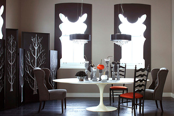 Simple White Themed Dining Room Design Ideas: A Black And White Halloween-themed Dining Room
