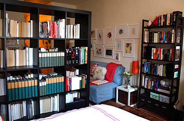A bookshelf room divider