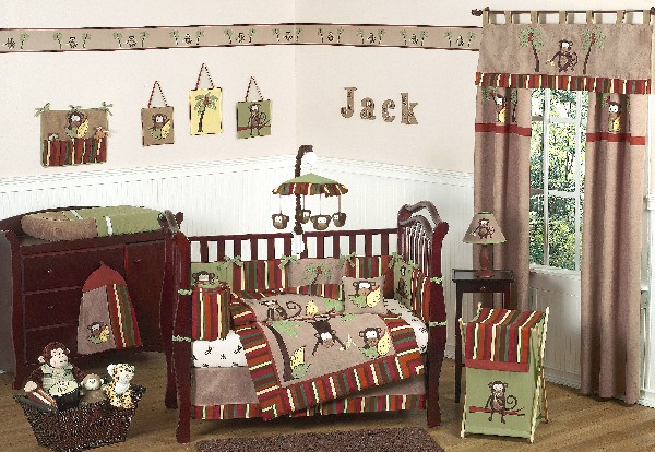 A crib full of monkeys to make your boys bedding endless fun
