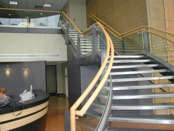 Superb View In Gallery A Curved Glass Handrail