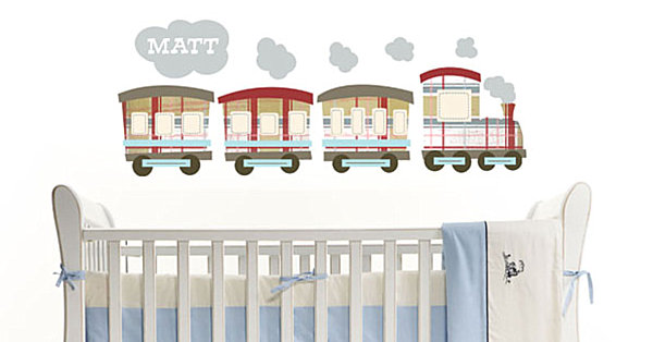 A fabric train wall decal
