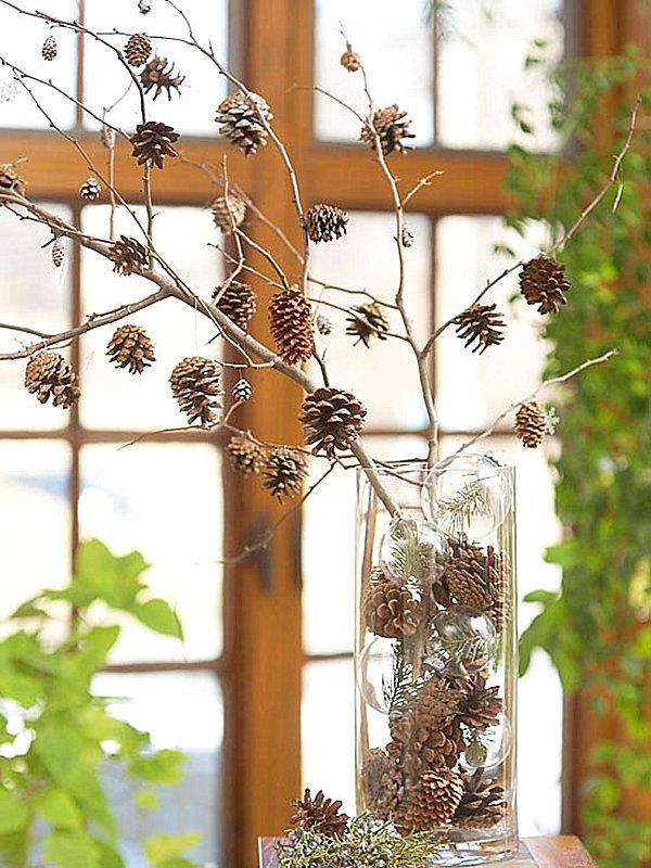 A fall pinecone arrangement