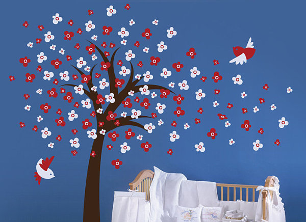 A floral tree nursery wall decal