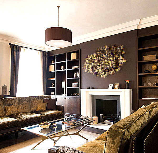 Metal wall art that makes a statement - Red gold and brown living room ...
