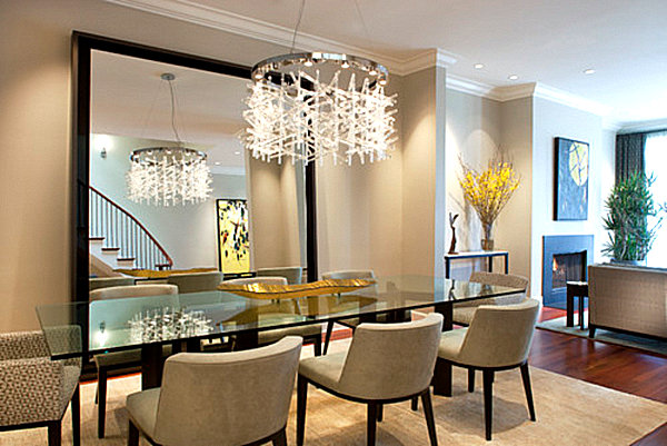 A large mirror opens up a dining room decoist for Big dining room ideas