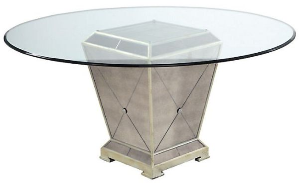 A mirrored dining table