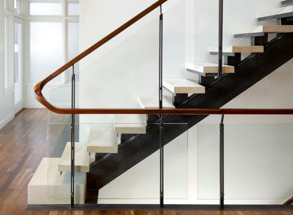 View in gallery A modern wooden handrail