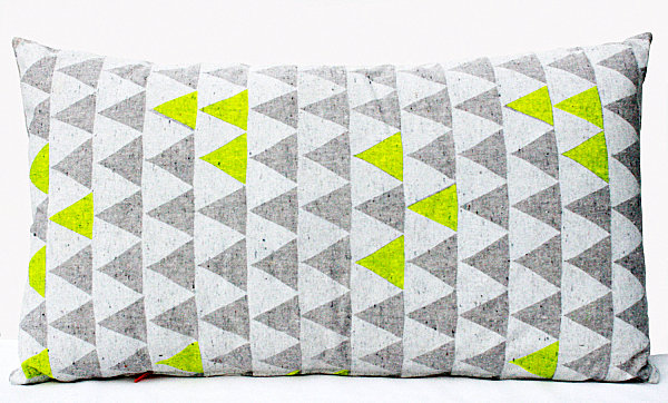 A neon triangle pillow
