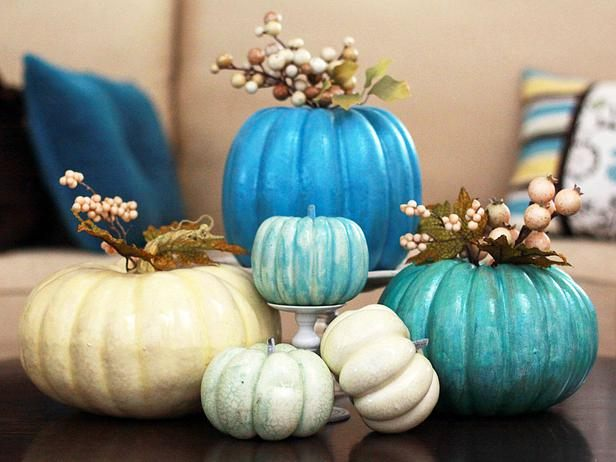A painted pumpkin centerpiece