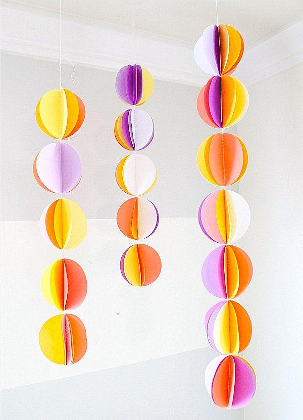 A paper ball garland in bright colors Easy DIY Projects That Celebrate Modern Design