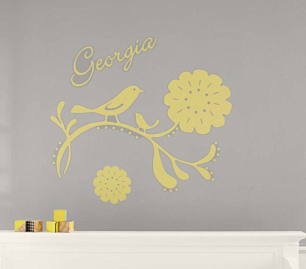 A personalized bird nursery wall decal