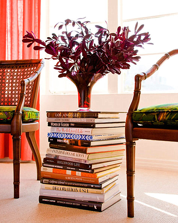 25 Creative Diy Home Decor Ideas You Should Try: A Table Stack Of Books