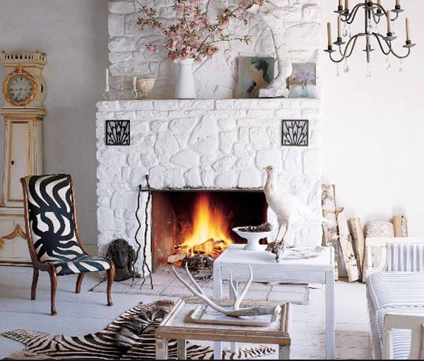 All white stone fireplace 40 Stone Fireplace Designs From Classic to Contemporary Spaces