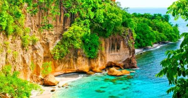 An aerial view of the secluded secret beach