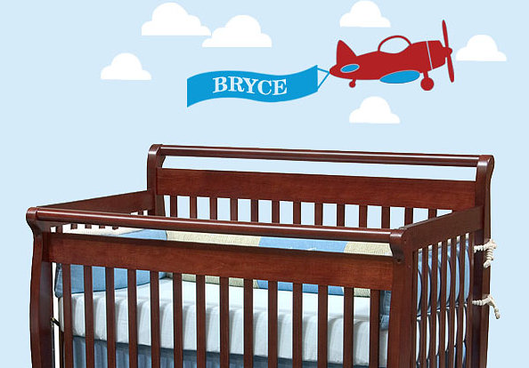 An airplane personalized wall decal