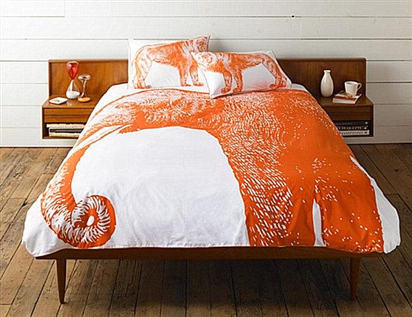 An Elephant Duvet Cover In Orange