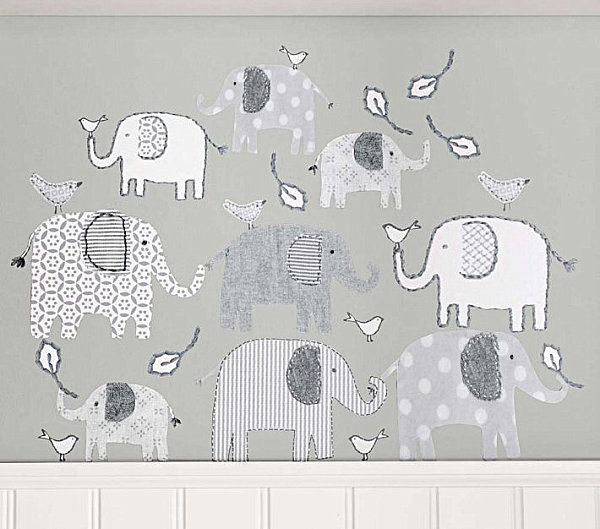 An elephant nursery wall decal