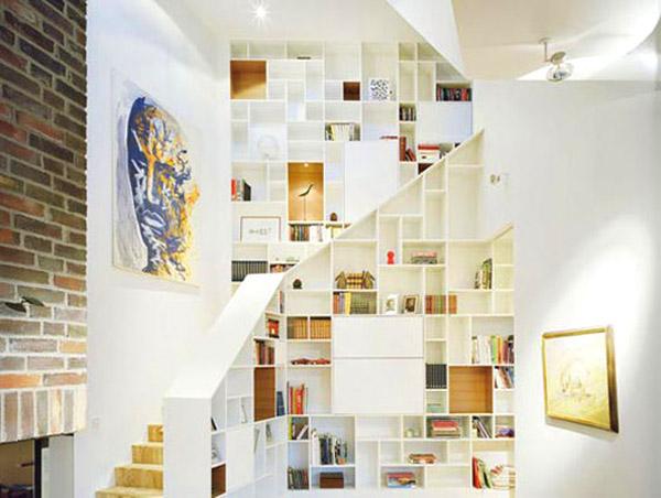 Artistic Stair Shelves Add Beauty