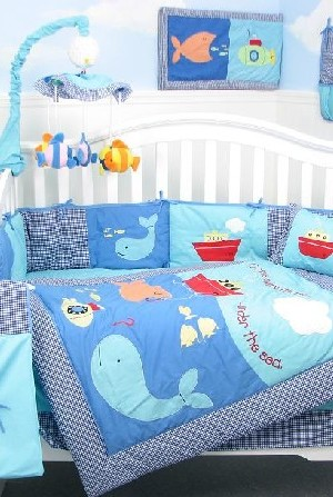 Baby boy bedding set with a cool blue aquatic theme
