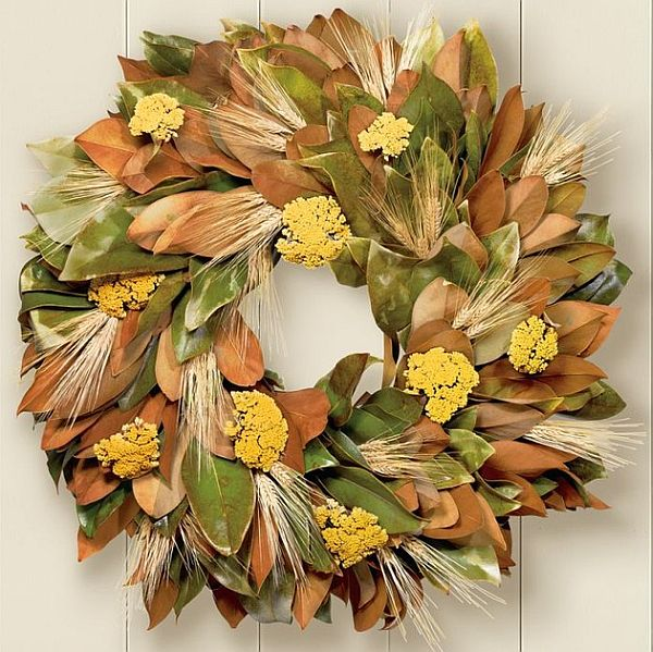 Beautiful Magnolia & Wheat fall wreath