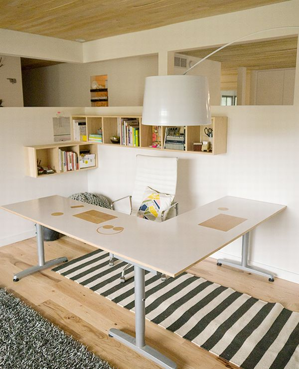 Beautiful and ergonomic home office with small storage for Beautiful modern office design
