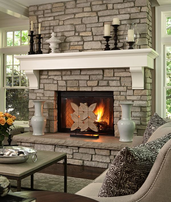Stone Fireplace Mantel Decorating Ideas 600 x 708