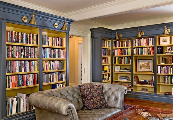 blue home library housing a chesterfield sofa 40 home library design