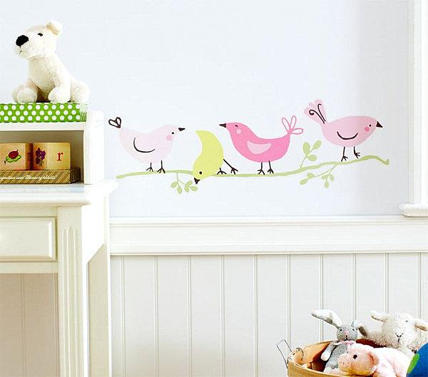 Bird-themed nursery wall decals