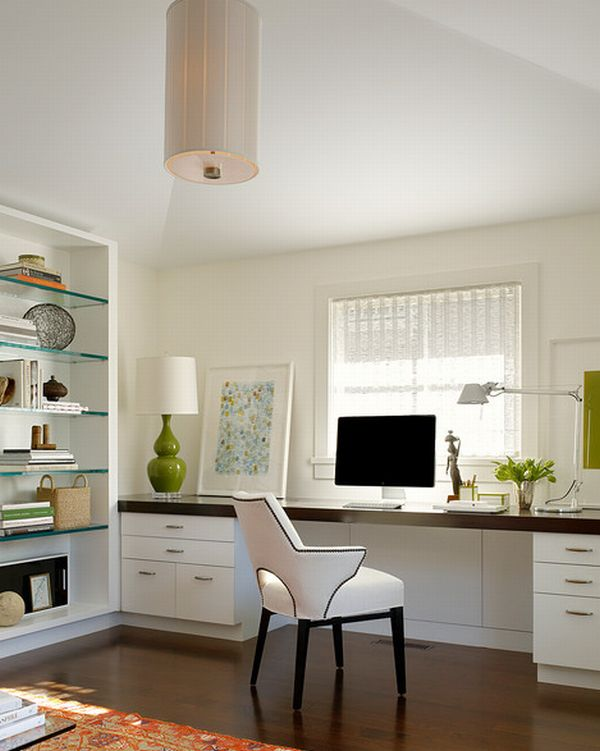 24 Minimalist Home Office Design Ideas For a Trendy Working ... on white modern office design, white home office modular furniture, white home office cabinets, white small office design, white home office bookcase, white home office ideas, white home office built ins,