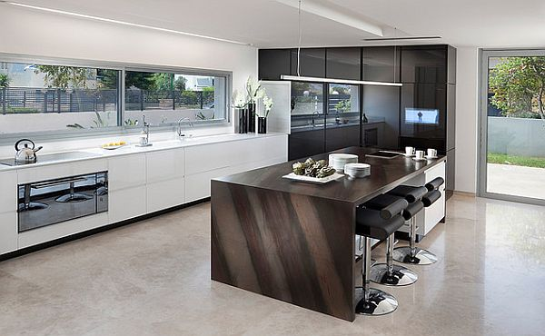 Black and white ultra modern kitchen design