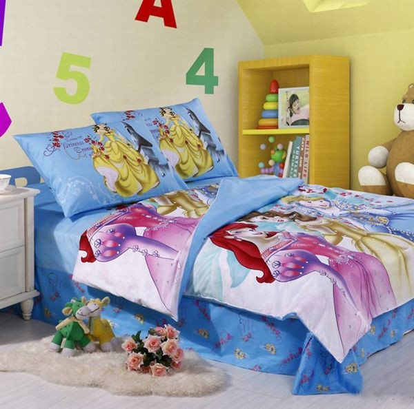 Blue Disney princesses bedding Girls Bedding: 30 Princess and Fairytale Inspired Sheets to Invite Magic Into Your Kids Bedroom
