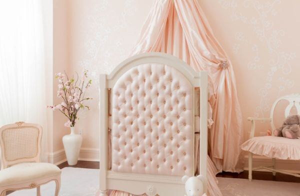 Carefully-concealed-Sleeping-Beauty-baby-bedding-in-picture-perfect-pink