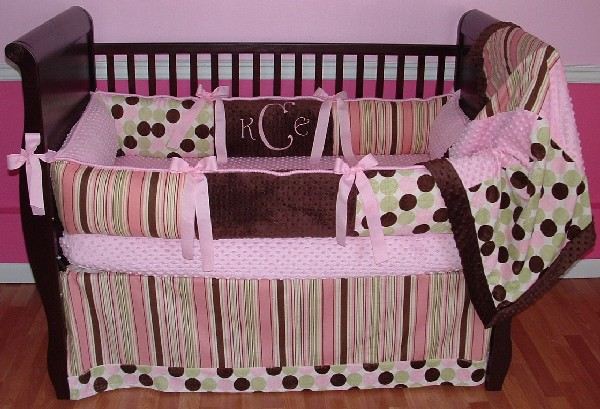 City Girl baby bedding in pink and polka dots