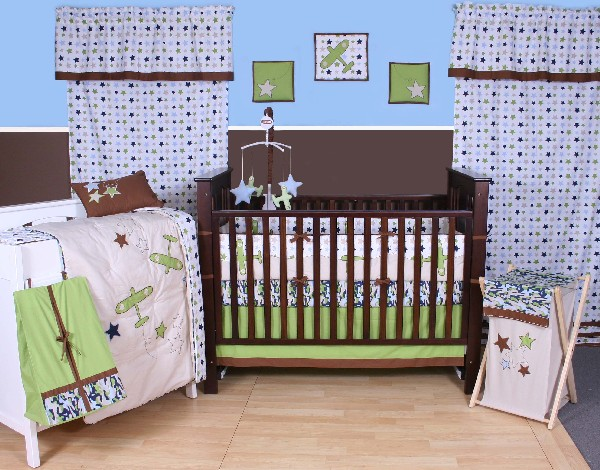 30 colorful and contemporary baby bedding ideas for boys - Airplane baby bedding sets ...