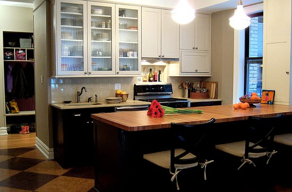 Classic modern small kitchen remodel with white upper and for Small upper kitchen cabinets