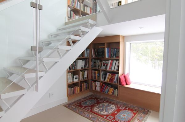 ... Stairs View In Gallery Cleanly Designed Bookcase Under ...