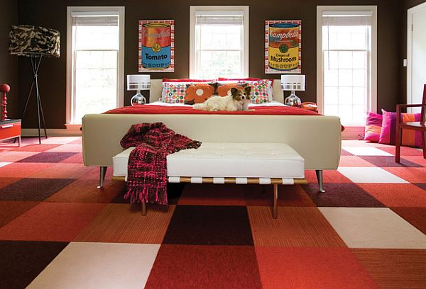 Tile flooring design ideas for every room of your house for Bedroom ideas red carpet