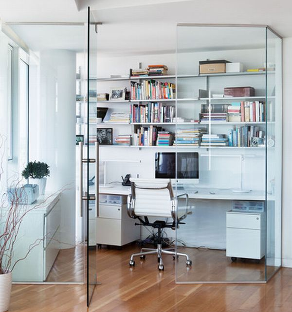 Home office design cool office space Baskets View In Gallery Compact Home Office Space Encased In Glass To Ensure You Are Not Disturbed Decoist 24 Minimalist Home Office Design Ideas For Trendy Working Space