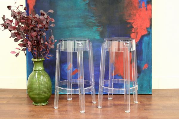 Contemporary-acrylic-barstools-with-a-round-seat