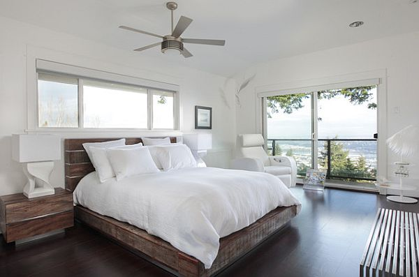 view in gallery contemporary bedroom with rustic bed wood frame