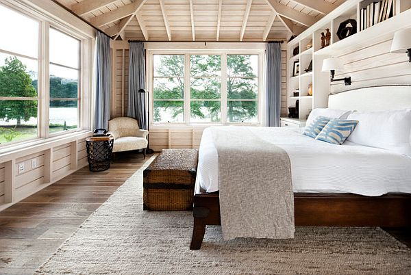 Country modern bedroom with wooden bed frame 10 Rustic and Modern Wooden Bed Frames for a Stylish Bedroom