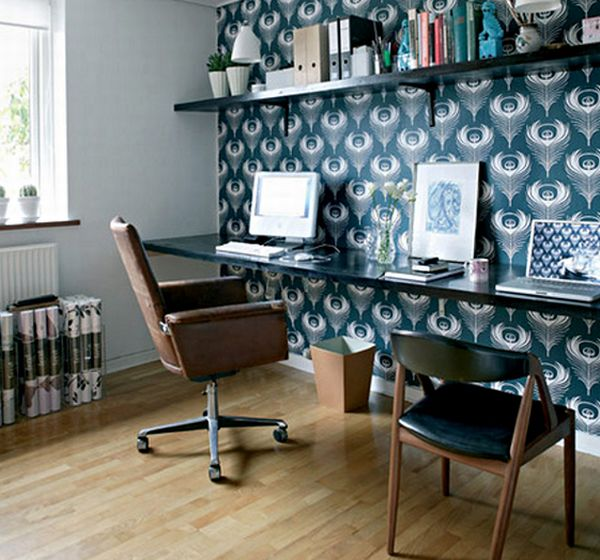 Cozy home office in bright blue and with ample space