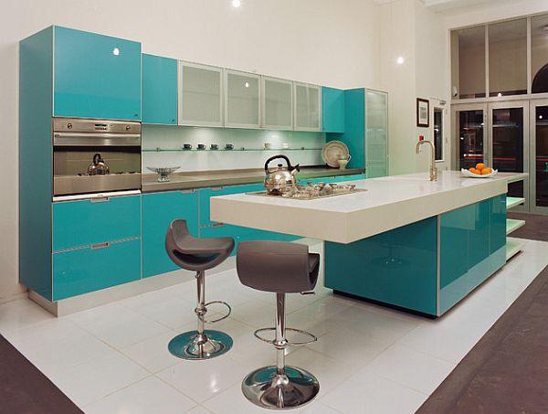 Custom built glossy blue and white kitchen design