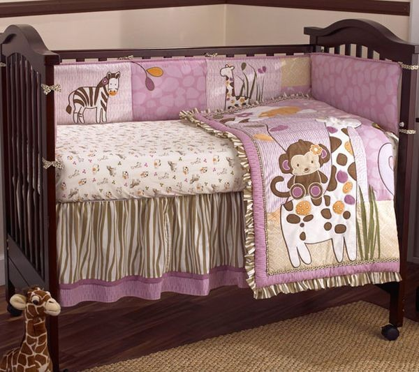 Cute safari purple and brown baby girl bedding perfect for contemporary homes