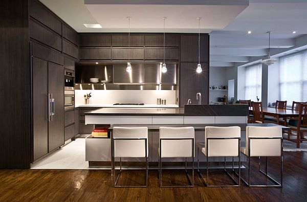 Dark modern corner kitchen furniture with white accents