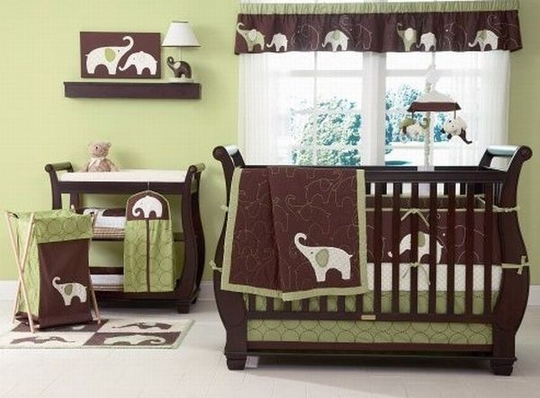 Dynamic green and brown baby bedding set for girls with elephant imagery