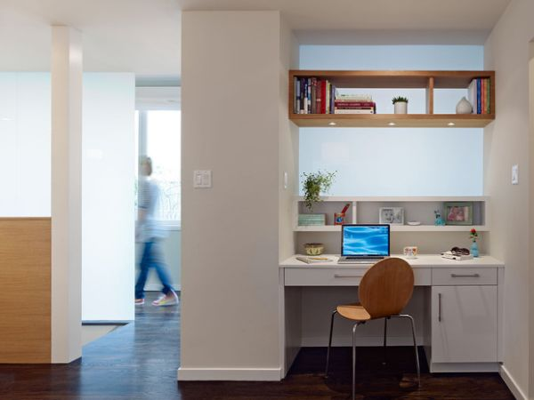 Efficient modern work space with gorgeous open wooden shelves on top