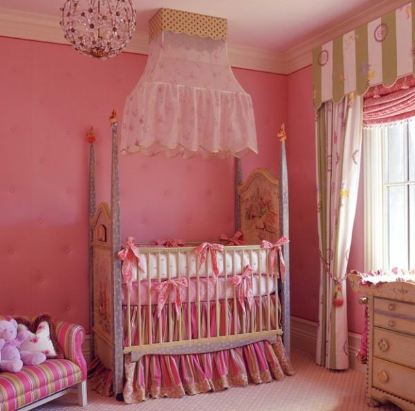 Cute Baby Girl Nursery Ideas: Elegant Baby Bedding For Little Girls Draped In Pink