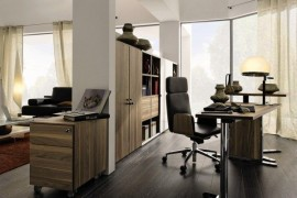 Elegant home office clad in brown wooden surface