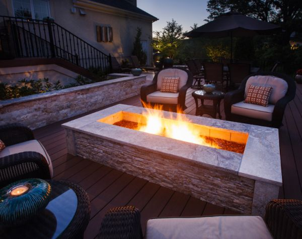 Elegant patio fireplace decoist for Modern fire pit ideas